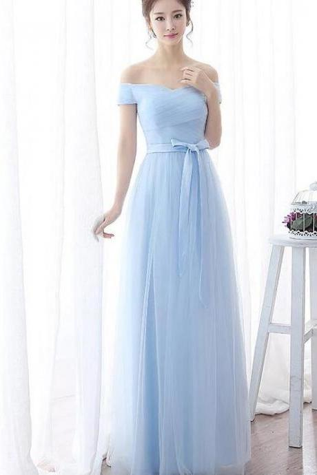 Light Blue Tulle A Line Long Bridesmaid Dress, Sexy A Line Prom Party Dress , Wedding Guest Gowns 2020