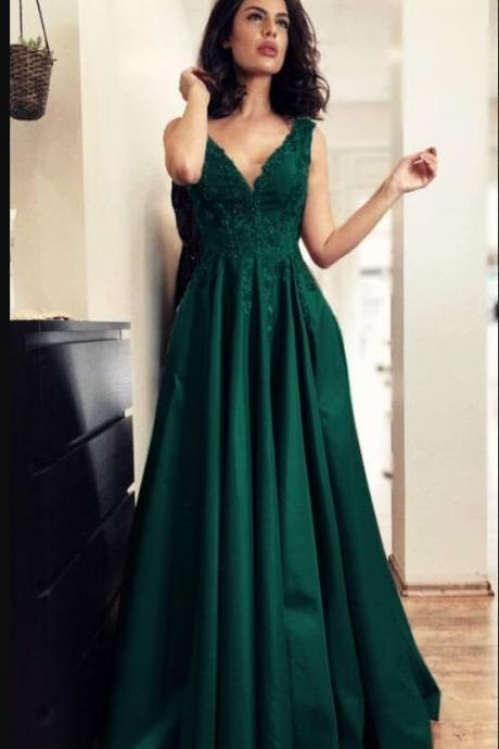 Custom Made V-Neck Lace Long Prom Dresses Green Satin Prom Party Gowns Plus Size Wedding Guest gowns ,Formal Evening Gowns