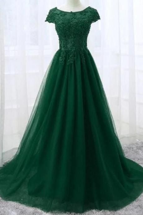 New Arrival Green Tulle Lace Prom Dresses Caped Sleeve Custom Made Women Gowns ,Lon g Evening Gowns ,.