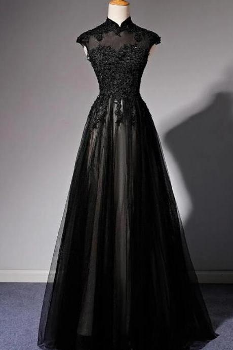 Black High Neck Lace A Line Long Prom Dresses Custom Made Womem Party Gowns ,Cheap Women Gowns , Long Dress For Teens 2020