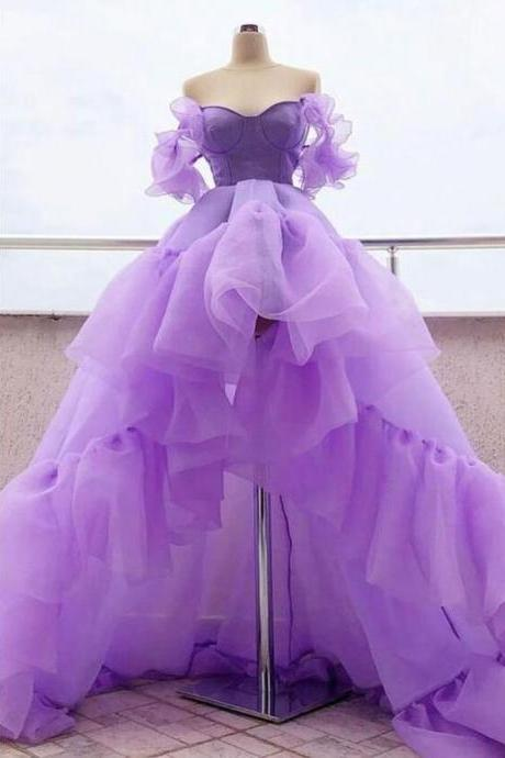 Sexy Lavender Tulle High Low Prom Dresses Custom Made A Line Cheap Prom Party Gowns For Teens ,Custom Made Prom Gowns