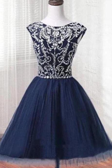 new Arrival Scoop nECK bEADED Navy Blue Short Homecoming Dress A Line Sexy Backless Mini Party Gowns ,Short Cocktail Gowns