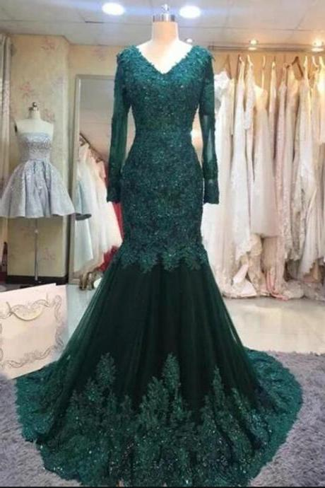 Sexy V-Neck Green Tulle Lace Mermaid Evening Dresses With Lace Appliqued Custom Made Women Party Gowns ,Long Prom Gowns