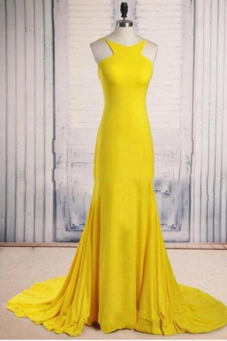 Off Shoulder Yellow Satin Mermaid Prom Dress Custom Made Prom Party Gowns ,Yellow Long Bridesmaid Dress