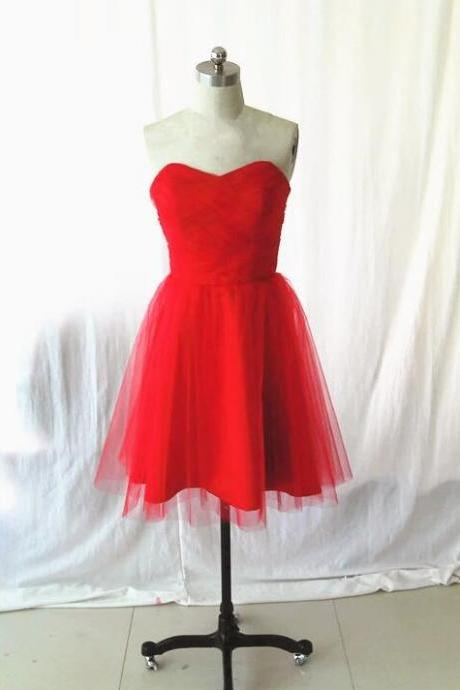 Red Tulle Short Homecoming Dress A Line Women Party Gowns Custom Made Party Gowns for Teens 2020