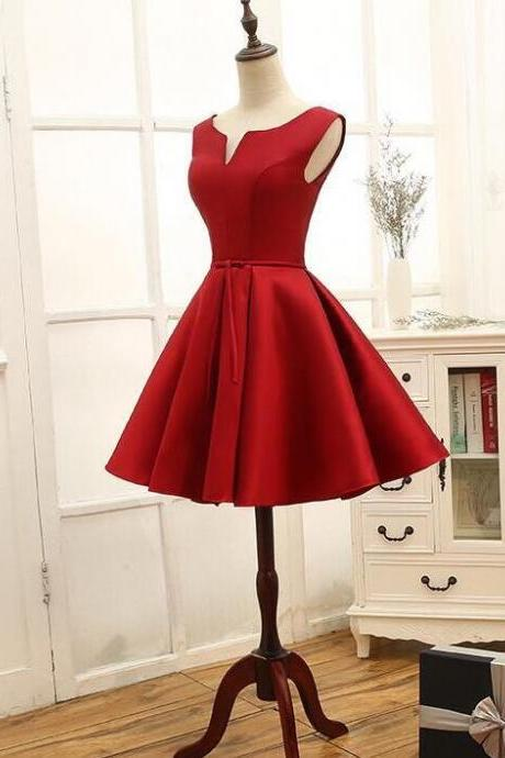 New Arrival Dark Red Satin Short Homecoming Dress A Line Cheap Prom Party Gowns For Teens ,Short Party Gowns 2020