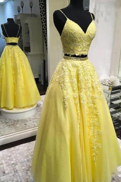 New Arrival Two pIeces Yellow Lace Prom Dresses Two pIeces Long Prom Party Gowns Cheap Women Party Gowns 2020