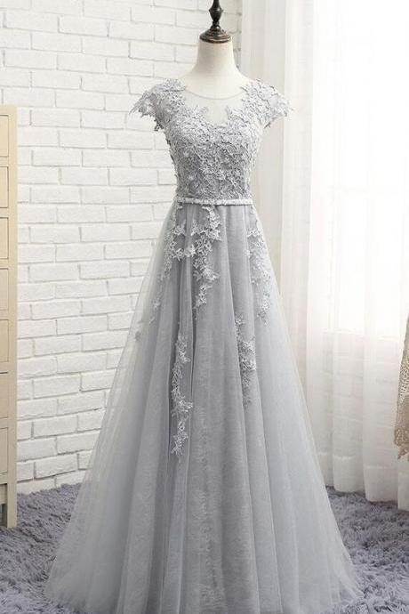 Sexy A Line Silver Lace Long Prom Dresses Custom Made Prom Party Gowns ,Plus Size Formal Evening Dress 2020