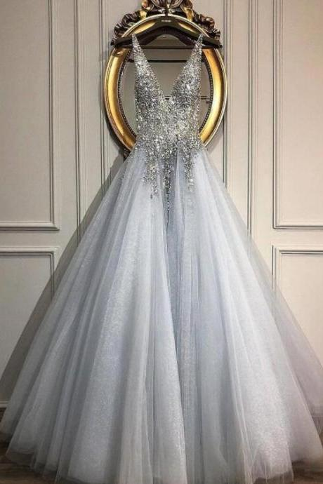 Fashion Silver Satin Beaded A Line lONG Prom Dresses Custom Made Women Party Gowns ,Cheap Prom Gowns With Crystal