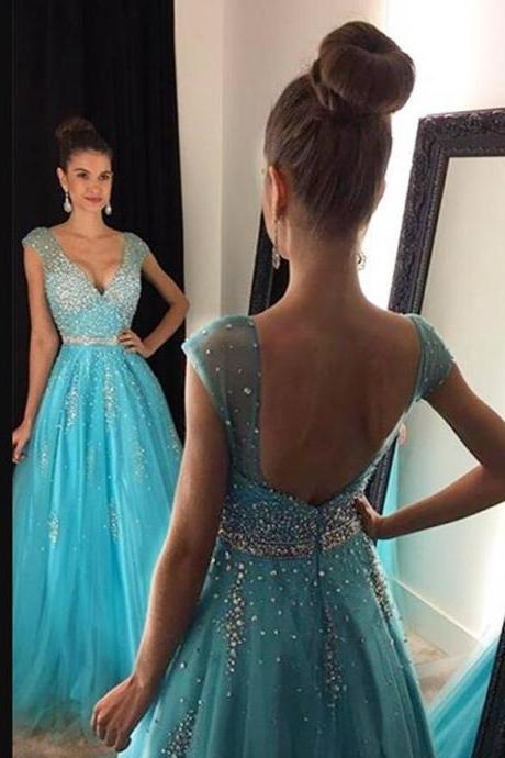 Luxury Beaded V-Neck Crystal A Line Long Prom Dresses 2020 Formal Evening Gowns Custom Made Party Gowns