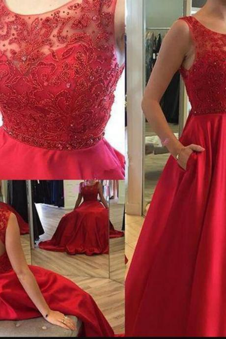 New Arrival Red Lace Beaded Ball Gown Quinceanera Dresses Sexy Backless Women Party Gowns ,Cheap Red Prom Gowns