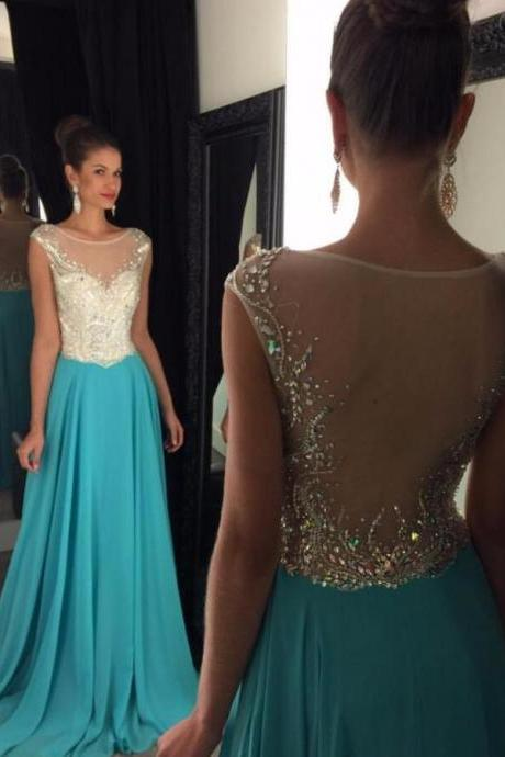Sexy Scoop Neck Beaded Sheer Long Prom Dress Floor Length Evening Gowns Custom Made Women Gowns