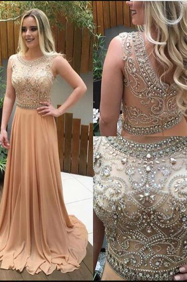 Luxury Beaded Scoop Neck Champagne Chiffon Prom Dresses 2020 Wedding Party Gowns A Line Evening Dress