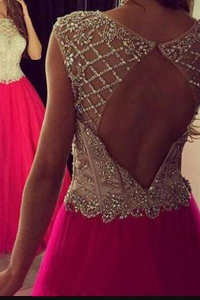 Luxury Beaded Fuchsia Tulle Long Prom Dresses Sexy Backless Women Party Gowns ,Custom Made A Line Prom Gowns
