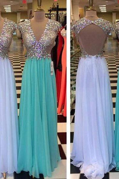 Sexy White Chiffon Beaded V-Neck Long Prom Dresses Backless Women Gowns ,Formal Evening Dress For Teens ,Wedding Guest Gowns