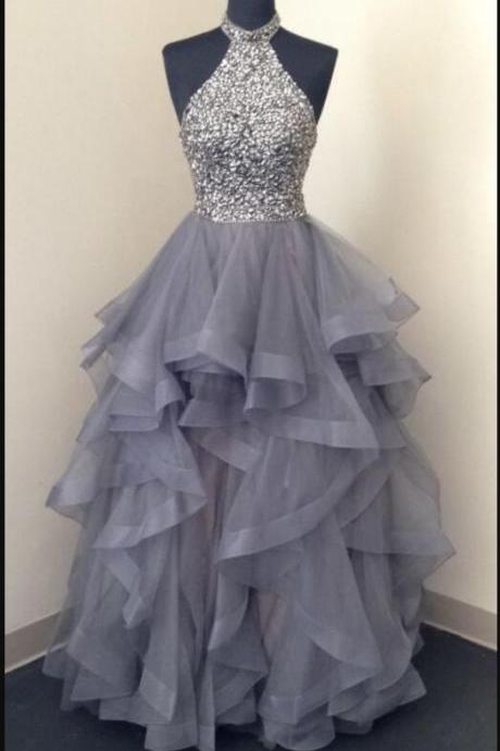 Elegant Halter Beaded A Line Silver Tulle Long Prom Dresses Custom Made Women Party Gowns 2020