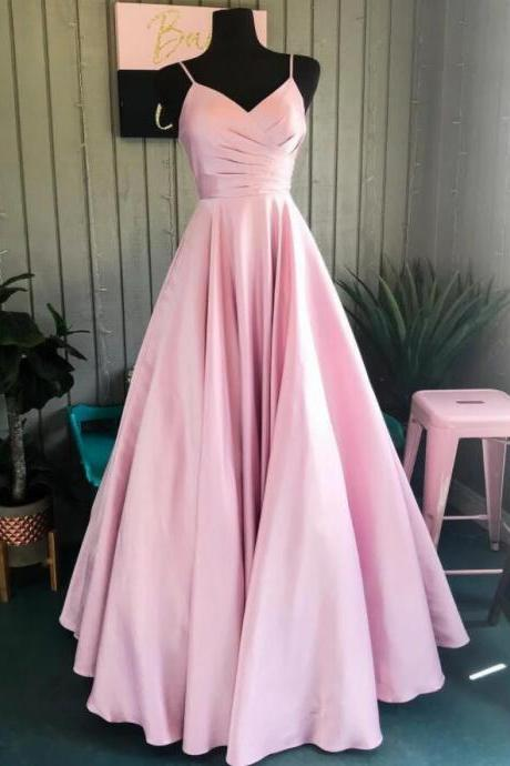 New Arrival Pink Satin A Line Long Prom Dresses Custom Made Women Party Gowns Cheap Evening Gowns