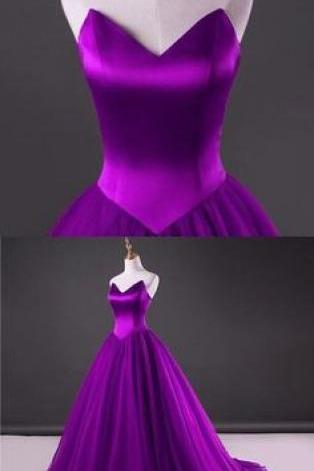 Cheap Purple Tulle A Line Long Prom Dresses 2020Wedding Guest Gowns ,Custom Made Prom Party Gowns