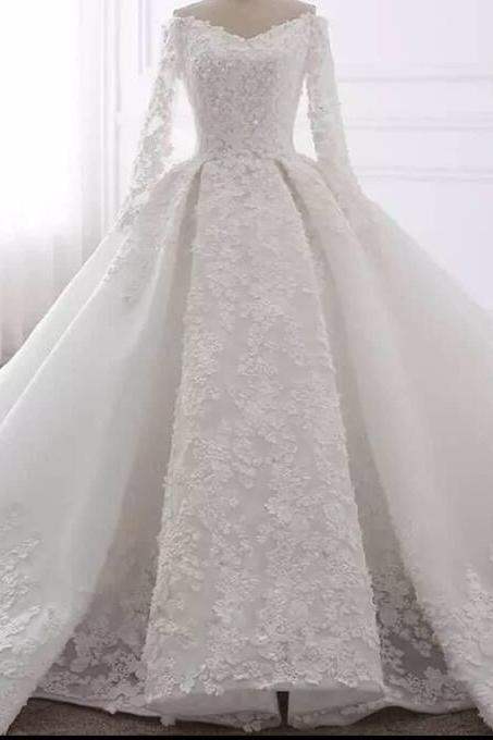 New Arrival White Lace Ball Gowns Wedding Dresses Custom Made Women Bridal Gowns ,Cheap Prom Gowns With Long Sleeve