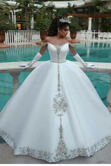 Luxury White Satin Beaded Ball Gown Wedding Dresses Custom Made Long Bridal Party Gowns ,Cheap Women Bridal Gowns