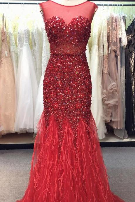 Luxury Beaded Crystal Red Tulle Mermaid Prom Dress Scoop Neck Women Pageant Gowns Plus Size Formal Evening Party Gowns
