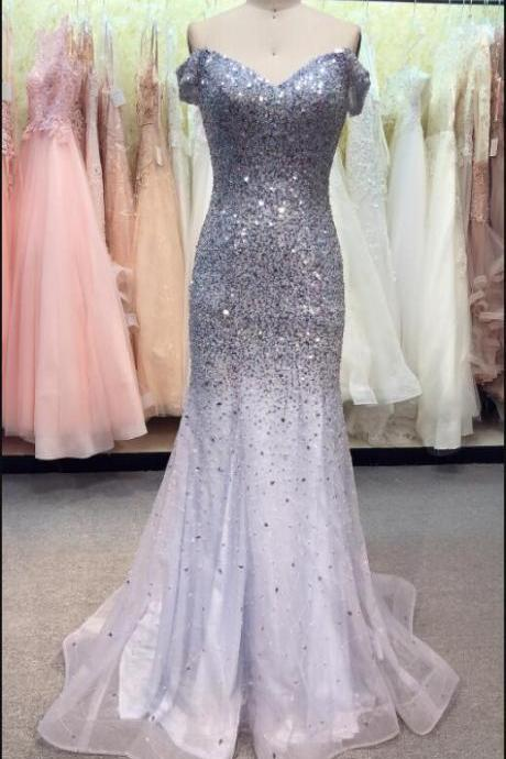 Luxury Beaded Crystal Tulle Mermaid Prom Dress Scoop Neck Women Pageant Gowns Plus Size Formal Evening Party Gowns ,Cheap Pageant Gowns 2020