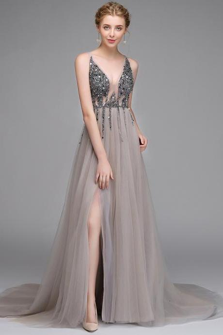 Elegant V-Neck Beaded Formal Evening Dresses Sexy Backless Prom Party Gowns A Line Prom Party Dresses