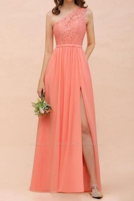 Cheap Coral Lace One Shoulder Long Bridesmaid Dress A Line Wedding Party Gowns ,Plus Size Bridesmaids Dresses 2020