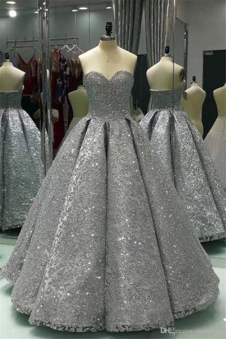 Long Ball Gown Shiny Winter Formal Silver Sequin Prom Dress Floor Length Bling Bling Evening Gowns long party dress