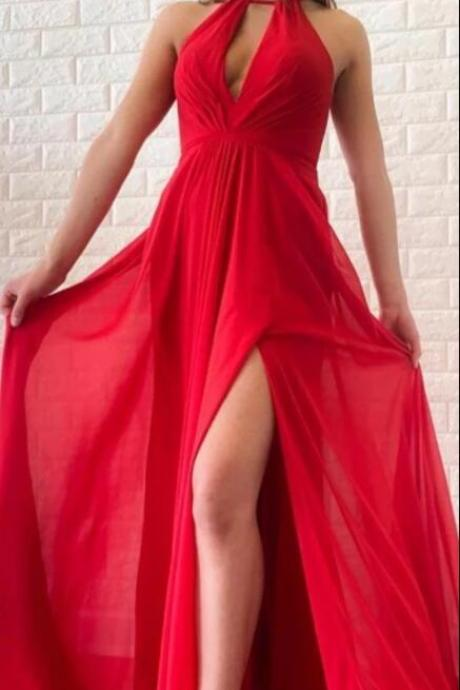 Sexy Halter Red Chiffon Pageant Party Dress , Long Prom Dresses, Custom Made Prom Gowns