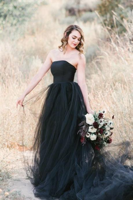 Elegant Black Tulle A Line Prom Dresses ,Black Cheap Prom Gowns ,Sexy A Line Black Formal Evening Dress