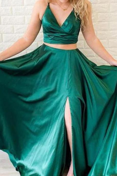 Cheap Two Pieces Green Satin Long Prom Dresses With Slit Women Party Gowns ,Two Pieces Homecoming Gowns