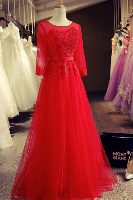 Sexy Red Tulle Long Prom Dresses Custom Made A Line Women Party Gowns ,Plus Size Cheap Formal Dresses