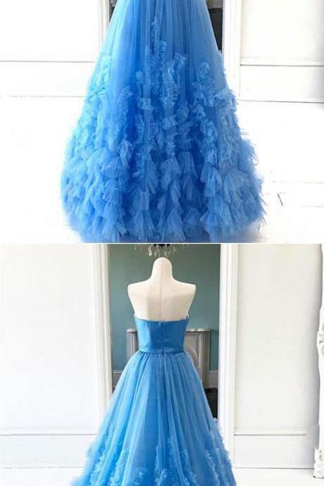 Fashion Blue Tulle A Line Formal Evening Dresses Cusatom Made Long Prom Dress,Red Tulle Prom Gowns