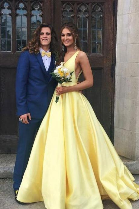 FCheap Prom Dresses Light Yellow Satin Long Prom Dresses Floor Length Women Party Gowns ,Sweet 16 Prom Gowns