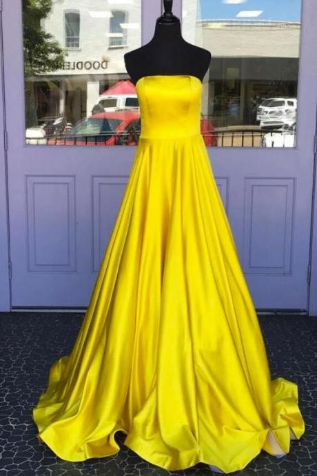 Off Shoulder Yellow Satin A Line Long Prom Dresses Custom Made Women Party gowns ,Cheap Prom Gowns