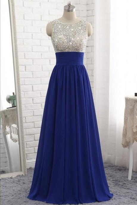 Shiny Beaded Royal Blue Chiffon A Line Long Prom Dresses Floor Length Women Party Gowns ,Cheap Evening Dress