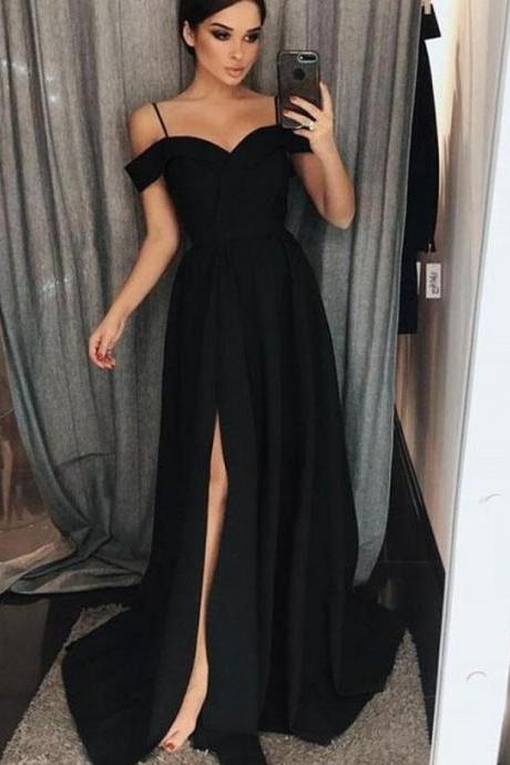 Black Chiffon A Line Cheap Prom Dresses Custom Made Women Party Gowns ,Plus Size Formal Evening Dress