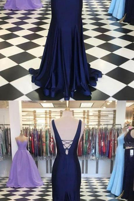 Mermaid Prom Dress Navy Blue Satin Long Prom Party Dresses 2020 Custom Made Evening Dress