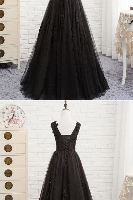 Black V-Necl Lace Formal Evening Dresses A Line Cheap Prom Dress , Black Prom Gowns Long