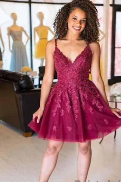 Spaghetti Strap V-Neck Lace Short Homecoming Dress A Line Mini Party Gowns ,Short Cocktail Dress, Junior Party Gowns