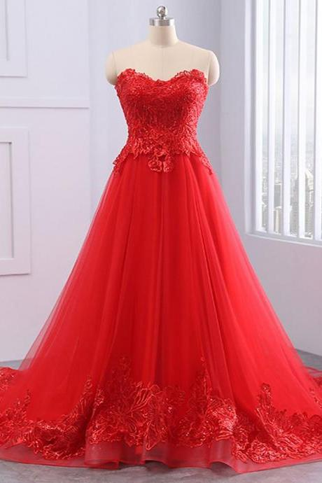 Off Shoulder Red Tulle A Line Prom Dresses Strapless Women Party Gowns , Long Prom Gowns