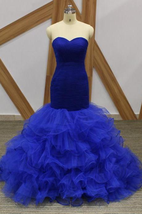 Elegant Royal Blue Ruffle Mermaid Prom Dresses With Skirts Tiers Plus Size Prom Party Gowns ,Custom Made Formal Evening Dress