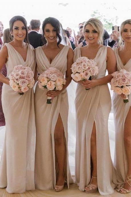 New Arrival V-Neck Ruffle Long Bridesmaid Dress With Side Slit Cheap Women Party Gowns ,Long Prom Gowns