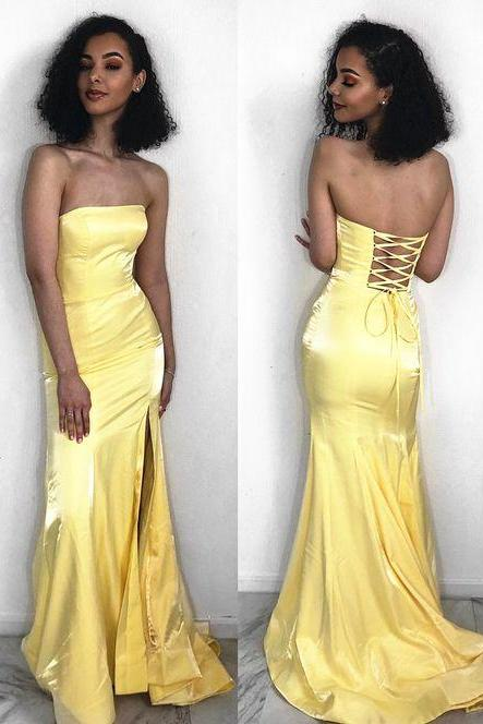 Sexy Yellow Satin Mermaid Prom Dresses,Custom Made Prom Party Gowns , Long Evening Dress, Formal Evening Gowns