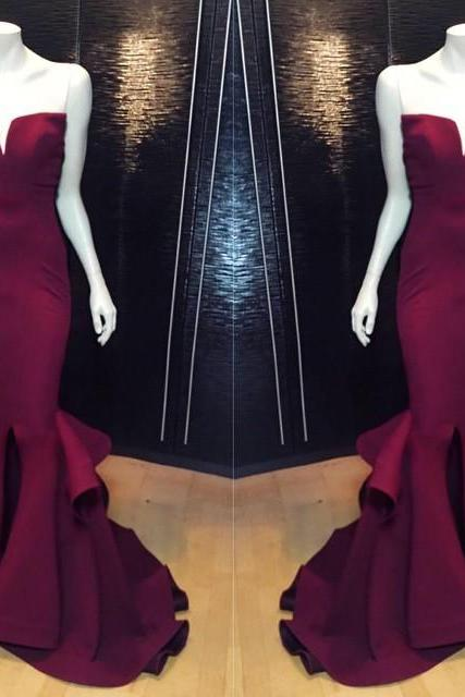 Off Shoulder Burgundy satin prom dresses long sweet prom party Gowns ,Custom Made Evening Party Gowns
