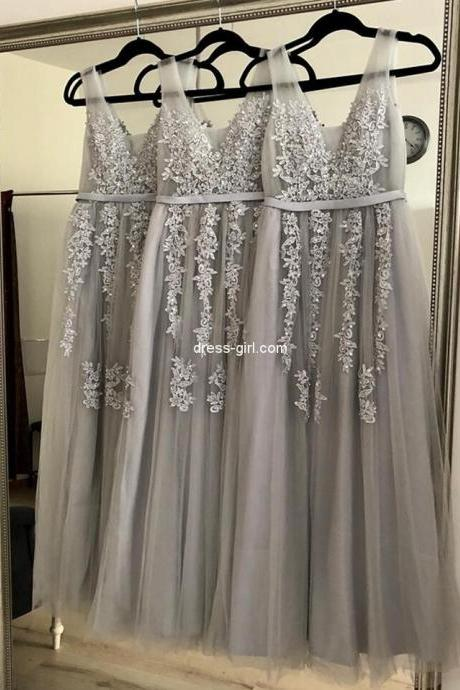 Custom Made Silver Tulle Lace Long Prom Dresses A Line Sheer Appliqued Wedding Party Gowns Cheap Prom Party Gowns ,Formal Evening Gowns