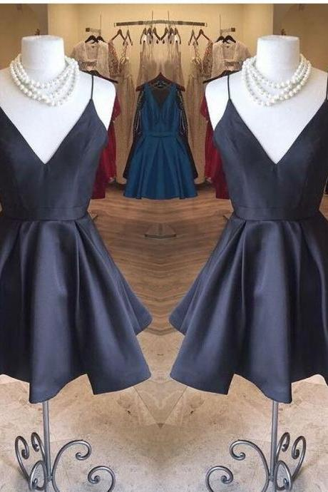 Sexy Navy Blue Satin Ball Gown Homecoming Dress Short Girls Party Gowns ,Custom Made Cocktail Gowns ,Junior Party Gowns 2020