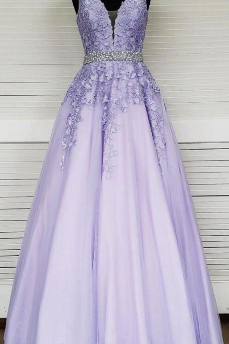 Hot Sale Lace Prom Dresses,Formal Party Gowns ,Formal Evening Dress With Appliqued ,A Line Cheap Pageant Party Gowns ,Simple Beaded Belt Party Gowns