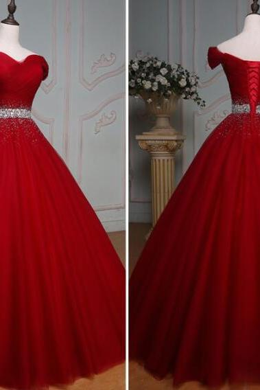 Elegant Burgundy Tulle Beaded A Line Long Prom Dresses A Line Sweet 16 Prom Party Gowns ,Sexy Ball Gown Quinceanera Dress